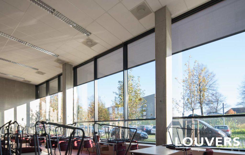 Screen zip Louvers vue de l'intérieur du bâtiment